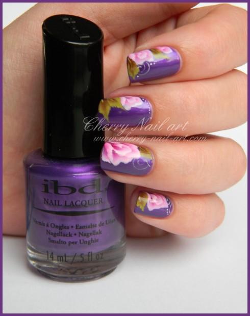 nail-art-fleur-rose-et-feuille-one-stroke-5